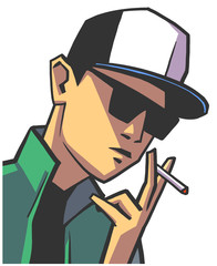 Isolated illustration of young guy wearing glasses and baseball hat smoking in color
