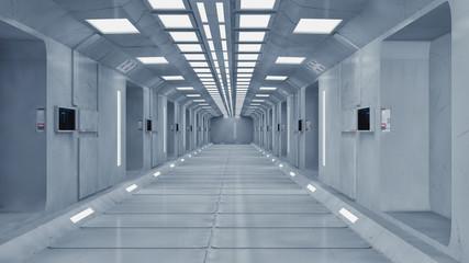 3D render. Futuristic corridor interior architecture