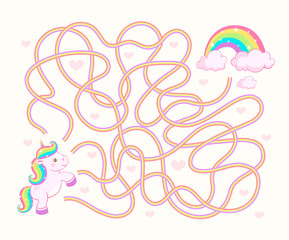 Help unicorn cub find path to rainbow. Labyrinth. Maze game for kids
