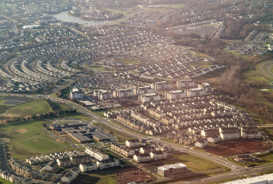 Aerial view of Sterling, Virginia, a suburb of Washington D C.