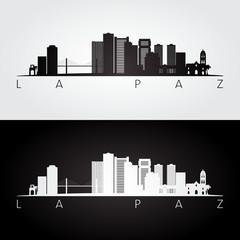 La Paz skyline and landmarks silhouette, black and white design, vector illustration.
