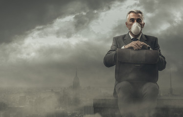 Businessman and polluted city