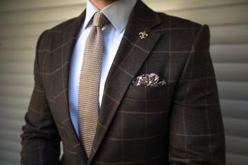 Man in elegant tailored suit posing