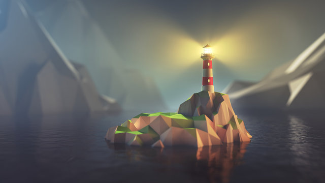 3D illustration of low poly lighthouse on isolated island