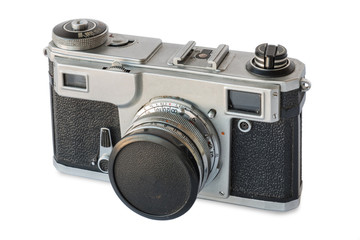 Old vintage silver camera on white background, isolated