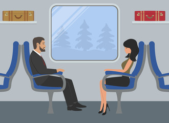 Passengers in the train car. Young woman and a man are sitting in blue armchairs and looking out the window. There are also suitcases on the shelves in the picture. Vector illustration.