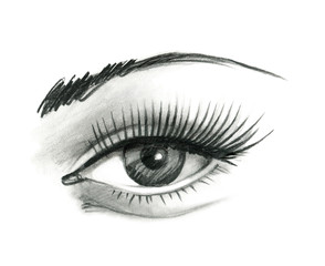 Mysteriously beautiful woman's eye with delicately curved eyelashes and an eyebrow. Graphic drawing with slate pencil. Isolated on white background.