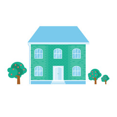 Modern icon with cozy home, house, cottage. Smart building with pastel color.  Flat design urban landscape