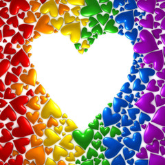Background of hearts in a rainbow of colors