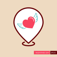 Heart with wings pin map icon