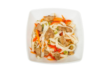Udon asian noodles with seafood. Isolated on white background.