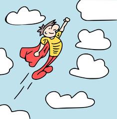 superheld vliegt door de lucht