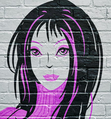 Graffiti. Portrait de femme