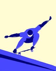 Skater doing an ollie on skateboard