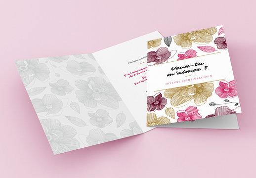 Mise en page d'une carte de la Saint-Valentin florale moderne