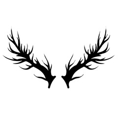 Deer Horns Silhouette Isolated