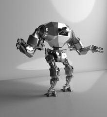 3D rendering of futuristic robot isolate on white