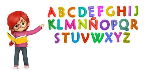 Profesora enseñando las letras de colores