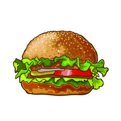 Vector hamburger in cartoon style. Isolated on white background.