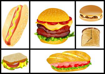 sandwiches and hamburgers set
