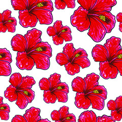 Hibiscus repeat pattern. Vector illustration isolated on white background