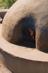Close up of Adobe Horno Earthen Walls Oven