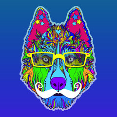 Vector face of dog with mustache, glasses and stars. Hipster style. Isolated on blue background.