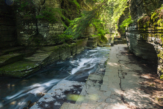 Beautiful summer waterfall in the finger lakes region of New York near Ithaca
