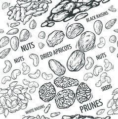 Pattern with dried fruits and nuts in monochrome color, vector illustration isolated on white background