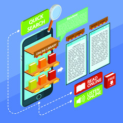 Infographic for online library. Isometric vector illustration a stack of books and textbooks. Books with colored covers for education. Application for reading books.