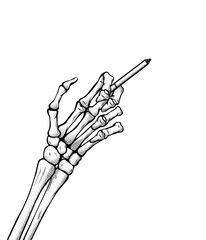 The hand of the skeleton holds a cigarette vector handdrawn lineart illustration
