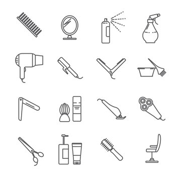 Set of hairdressing tools and barber shop Related Vector Line Icons. Includes such Icons as comb, Hairdryer, scissors, curling iron, razor, mirror, Barber chair, beauty salon, razor, babershop, barber