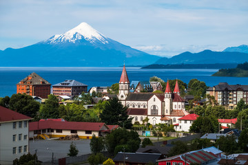 Town of Puerto Varas with volcano Osorno on the background. Chile Wall mural
