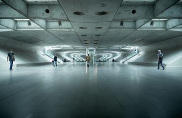 Underground rail station in Lisbon