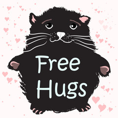 Cute cat free hugs