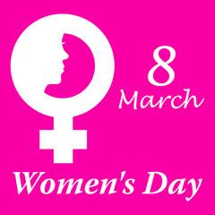 Icono plano 8 March y simbolo femenino con cara mujer y Women s Day y fondo rosa