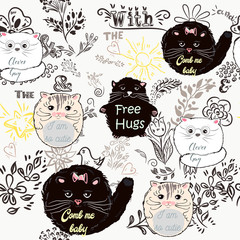 Cute pattern with doodles and pretty cat. Vector illustration: