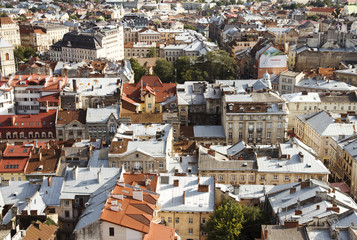 View from height on the old city. Lviv, Ukraine.