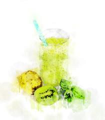 Watercolor Illustration Kiwi Juice Glass