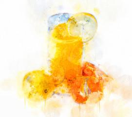 Watercolor Illustration Orange Juice Glass