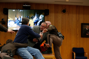 Randall Margraves lunges at Larry Nassar during victim statements of his sentencing in Charlotte,
