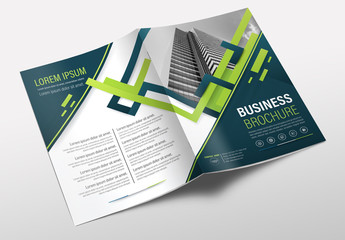 Brochure Cover Layout with Blue and Green Accents 11