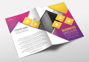 Brochure Cover Layout with Pink and Yellow Accents 1