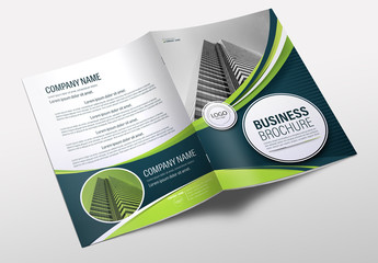 Brochure Cover Layout with Blue and Green Accents 13