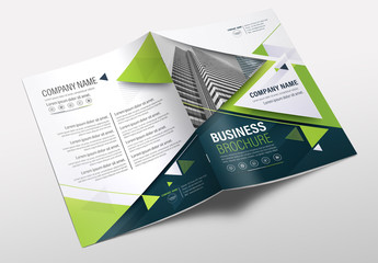 Brochure Cover Layout with Blue and Green Accents 14