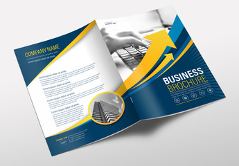 Brochure Cover Layout with Blue and Yellow Accents 7