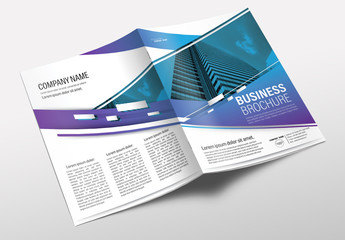 Brochure Cover Layout with Blue and Purple Gradient Accents 1