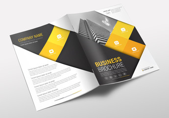 Brochure Cover Layout with Black and Yellow Accents 1