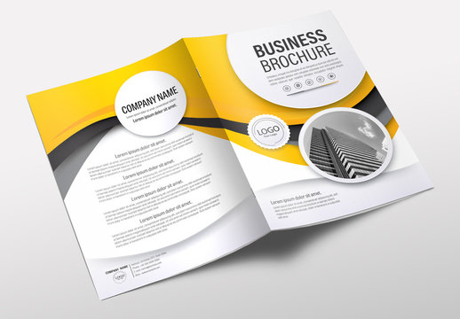 Brochure Cover Layout with Yellow and Gray Accents 4