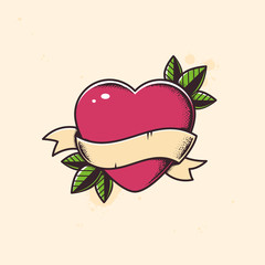 Heart with blank banner tattoo vector illustration